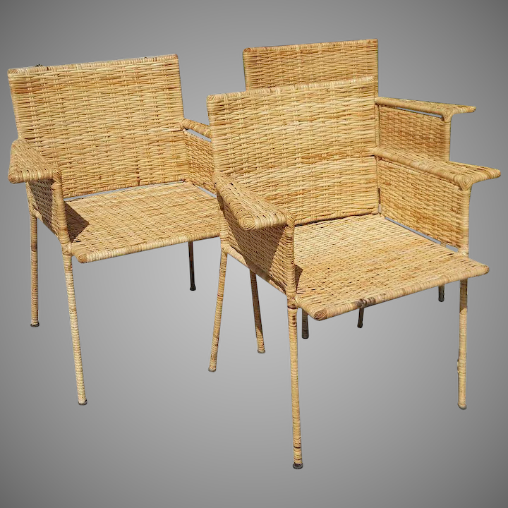 Van Keppel And Green Wicker Wrought Iron Chairs Set Of 3