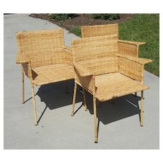Van Keppel and Green Wicker and Wrought Iron Chairs Set of 3