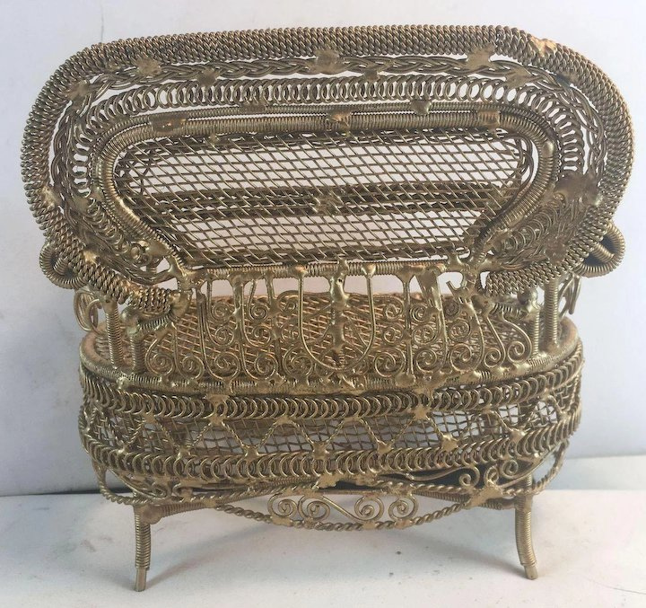 Doll S Dollhouse Gold Metal Wire Ornate Sofa Couch