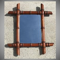 French Carved Faux Bamboo Mirror