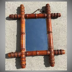 French Faux Bamboo Carved Mirror