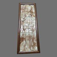 Majolica Beige & White Figural Musician Tile