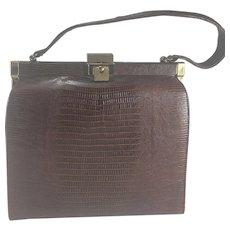Vintage Alligator Handbag Purse Bag w/ Brushed Brass Clasp