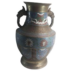 Asian Champleve Vase Enamel & Cast Metal Japan