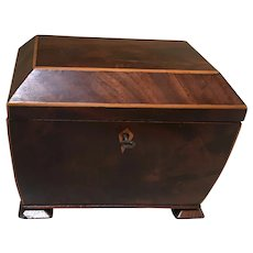 English Regency Mahogany Coffer Shaped Tea Caddy Box