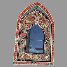 Vibrantly Colored Indian Hand Painted Small Arch Mirror