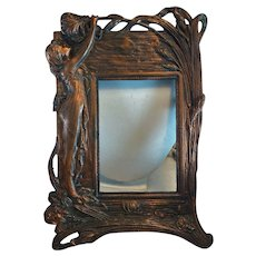 Art Nouveau Copper Plated Desk Top Picture Frame