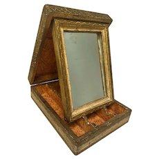 Italian Florentine Jewelry/Vanity/cosmetic Box w/ Folding Mirror