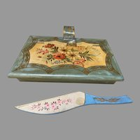 Floral Tole Decorated Wooden Silent Butler Crumber & Tray Japan