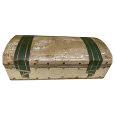 Domed Italian Florentine Painted Drapery Wooden Box 3 Dividers