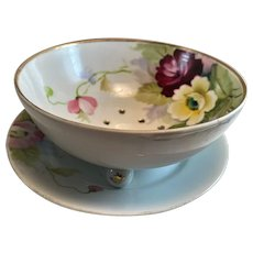 Nippon Floral Pierced Berry Strainer w/ Underplate