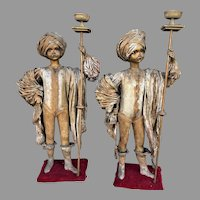 Pair Child Size Figures W/ Costumes & Turbans Holding Torches