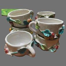 Italian Faience Raised Fruit Ceramic Espresso Coffee Cups Set of 7