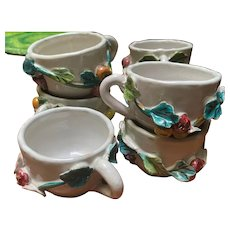 Italian Faience Raised Fruit Ceramic Espresso Coffee Cups Set of 7