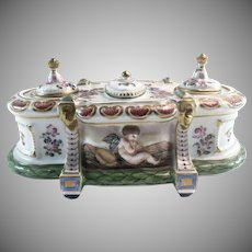19th C Capodimonte Bas-Relief Musical Cherubs Double Inkwell Porcelain