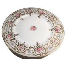 "Set of Six Charles Ahrenfeldt, Limoges France Porcelain 9 1/2"" Dinner Plates w/ Roses"