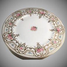 "Set of Six Charles Ahrenfeldt, Limoges France Porcelain 9 1/2"" Dinner Plates"