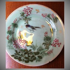 Green Celadon Plate w/ Bird & Flowers