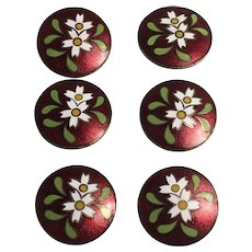 Set of 6 Modern Flower Pattern Cloisonne Buttons on Card Japan