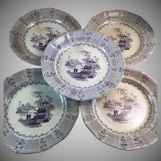 Set of 5 Matching 19th C. Mulberry Transferware Chinese Pattern Plates