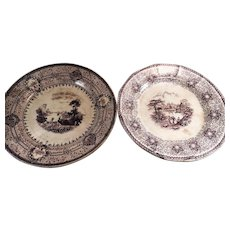 Pair of Unmatched Mulberry Transferware Plates