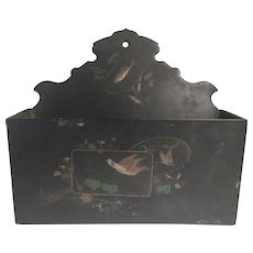 English 19th C. Papier Mache Black Lacquer Letter Holder Wall Pocket