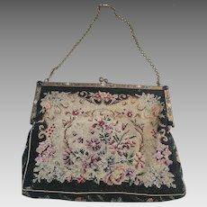 Floral Micro Petit Point Evening Bag Purse Cloisonne Jeweled Frame