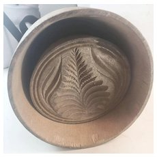 Lg Primitive Carved Wooden Butter Mold/Press Pineapple Stamp