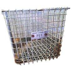 Vintage Wire Pool Gym Locker Basket