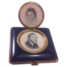 Vintage Enamel Finish Compact with a Locket Photo Holder