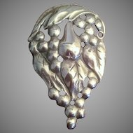 Sterling Silver Leaf and Fruit Pin Brooch