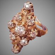 Wonderful Antique 14K Diamond Cluster Ring