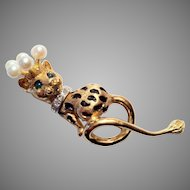 Signed TECLA 14K Leopard Pin/Brooch with Diamond Collar Emerald Eyes and Pearl Crown