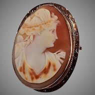 Large Edwardian 10K Etched Rose Gold Framed Shell Carved Cameo