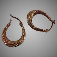 9Kt Gold Puffy hoop earrings with Swirl Pattern