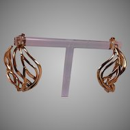 14K Large Weave Design Partial Hoop Earrings