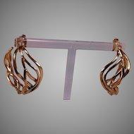 14K Large Weave Design Partial Hoop Earrings