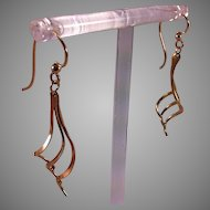 14K Gold Long Twirly Earrings