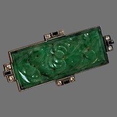 Art Deco Carved Jade Brooch w/ 8 Diamonds and 4 Rectangular Sapphires