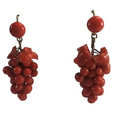14K YG Victorian Salmon Coral Grape Cluster Dangle Earrings