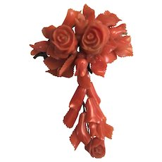 Victorian Carved Salmon Coral Roses & Leaves Dangle Brooch/Pin