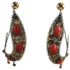 Victorian 14K Yellow Gold Filigree Salmon Carved Coral Cameo Half Hoop Earrings
