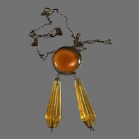 Art Deco Topaz Glass Necklace with Two Drops