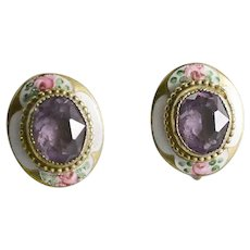 Amethyst & Enamel Screw Back Earrings W/ Roses