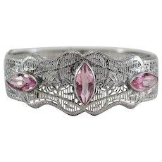Art Deco Rhodium Plated Filigree Hinged Bangle Bracelet w/ Navette Pink Stones