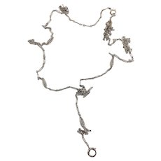 Art Deco White Gold Filled Lorgnette Lady's Watch Chain
