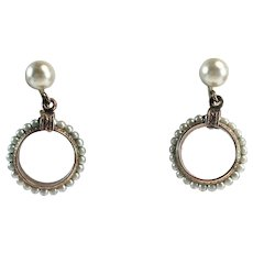 JMS 1/20-12K Gold Filled Cultured Pearl Screw Back Earrings w/ Etched Design