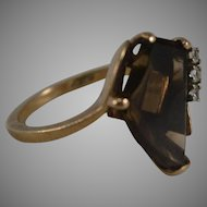 10K MCM Yellow Gold Smokey Quartz & Diamond Ring