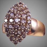 1.10ct 10K YG Champagne Diamond Cluster Ring ZEI