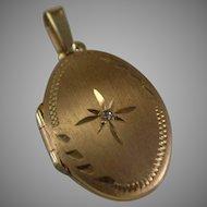 10K Yellow Gold Locket with Diamond